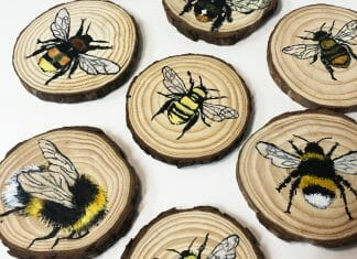 Painting Bees on Wood Slices