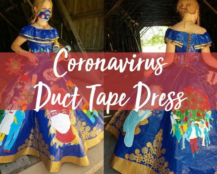 coronavirus duct tape dress