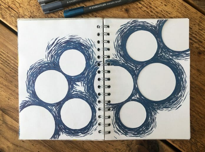 Metalic Brush Pen Mark Making