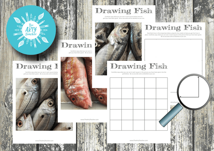 Grid Drawings of Fish