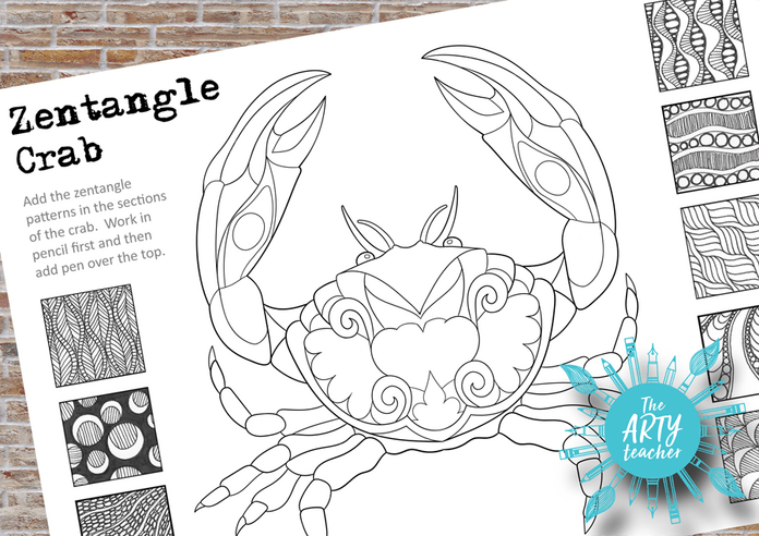 Add zentangles to the crab