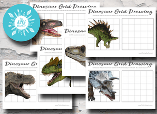 Dinosaur Grid Drawings